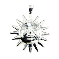 Nostalgic Relief Of The Sun Pendant Polished Sterling Silver