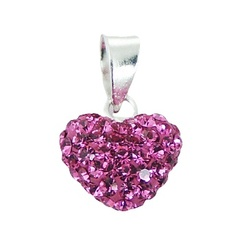 Sterling Silver Czech Crystal Puffed Heart Pendant