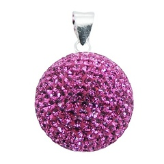 925 Sterling Silver Czech Crystal Pendant Vibrant Colored Ball