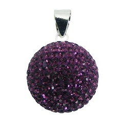 Crystal Pendant Sterling Silver Blackberry Colored Sparkle