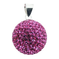 Vivid Pink Sterling Silver Crystal Pendant Czech Crystals