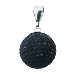 17 mm Czech Crystals Pendant Black Silver Glittering Sphere