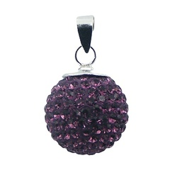 Purple Sparkling Crystals Sphere Pendant 925 Shiny Silver
