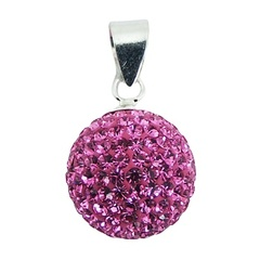 Sterling Silver Czech Crystals Pendant 14mm Pink Sparkle