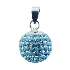 Crystal 925 Sterling Silver Pendant Sky-Blue Sparkling Ball