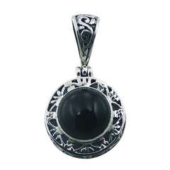 Small Round Ajoure Silver Gemstone Pendant Black Agate