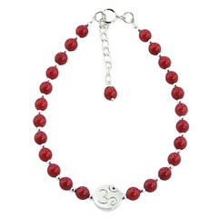 Gemstone and Silver Bead Bracelet with Polished Silver OM Bead