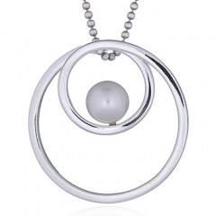 925 Silver Pendant Double Open Circle and Pearl