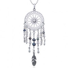 Dream Catcher Freshwater Pearls Silver Pendant