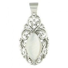 Aristocratic-looking Marquise Shaped MOP Silver Pendant