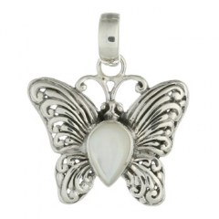 Antiqued Sterling Silver Butterfly Pendant with Mother of Pearl Inset