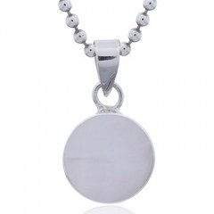 Round Iridiscent Sterling Silver Mother of Pearl Pendant