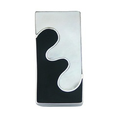 Black Shell Mother Of Pearl 925 Silver Pendant Chic Puzzle Style
