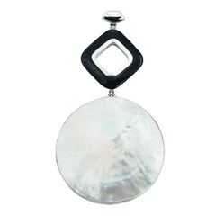 MOP Shell Disc Pendant Hinged 925 Silver Framed Black Agate