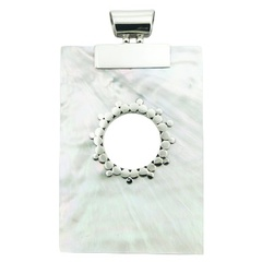 Rectangular Mother Of Pearl 925 Silver Pendant Natural Shell