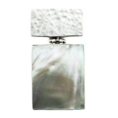 Silver Mother Of Pearl Pendant Hinged Hammered Rectangle
