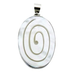 Oval Sterling Silver Mother Of Pearl Pendant Cut Out Spiral