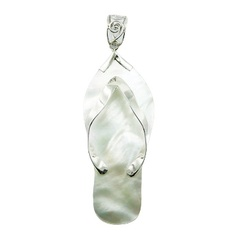 Mother Of Pearl Slipper Pendant Set In Sterling Silver Ajoure Bail