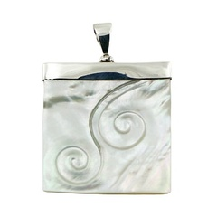 Shell Pendant Hand Carved Twirl Relief 925 Silver Hinged Bail