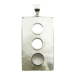 Mother Of Pearl Rectangular Pendant Silver Framed Circles
