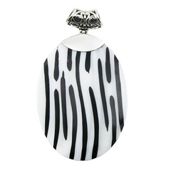 Mother Of Pearl Silver Pendant Vertical Black Resin Lines