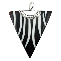 Black Shell Triangle Resin Filled Lines Ornate Silver Clasp