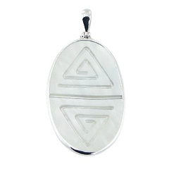 Large White MOP Carved Spirals Oval Sterling Silver Pendant
