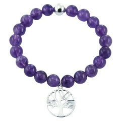Amethyst Bead Stretch Bracelet 925 Silver Tree of Life Charm