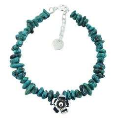 Turquoise Bead Bracelet with Antiqued Casted Silver Flower