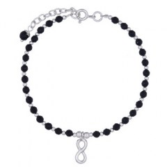 Infinity Bracelet Faceted Black Agate and Round Silver Beads