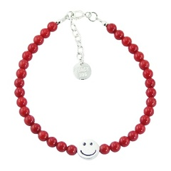 Polished Round Bead Bracelet with Sterling Silver Happy Face Bead