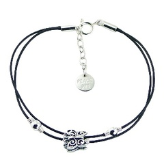 Double Strap Leather Bracelet with Silver Butterfly & Beads