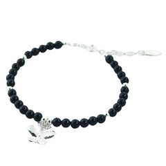 Round Gemstone Bead Bracelet with Silver Butterfly Charm