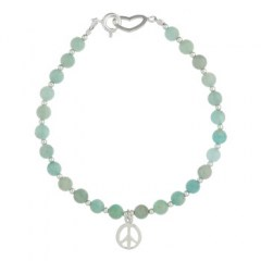 Beaded Amazonite Bracelet Peace Sign and Heart-Springring Clasp