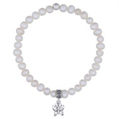 Freshwater Pearl Stretch Bracelet Sterling Silver Butterfly Charm