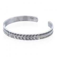 Tribal Arrows On Silver 925 Concave Bangles