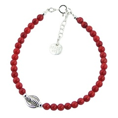 Gemstone Bead Bracelet with Casted Silver Spiral  Bead