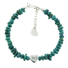 Turquoise Bead Bracelet 925 Silver Heart Charm Bead