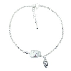 Sterling Silver Rollo Chain Bracelet Single Freshwater Pearl