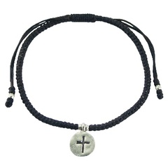 Macrame Bracelet Antiqued Silver Disc with Cross Charm