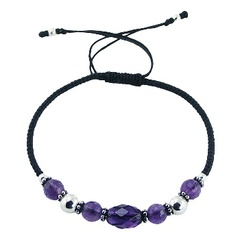 Glass, Amethyst and Sterling Silver Beads on Macrame Bracelet