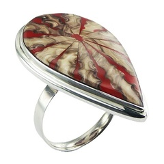Red based multicolored spider shell drop shaped polished sterling silver ring