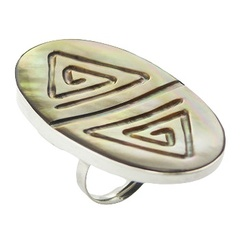 Gorgeous oval engraved rainbow shell polished sterling silver ring