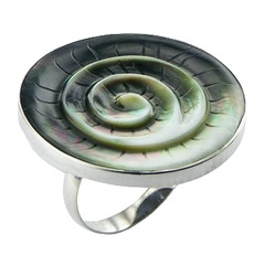 Green shell hand carved twirl polished sterling silver ring