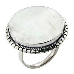 Hand soldered antiqued ornamented mother of pearl sterling silver ring