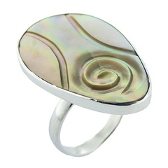 Handmade oval rainbow shell polished sterling silver ring
