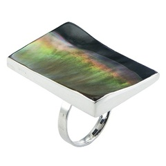 Handmade iridescent vanguard black lip shell polished sterling silver ring