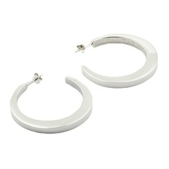 Tapered silver hoops earrings