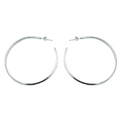 Stamped large circle open 925 sterling silver hoops earrings
