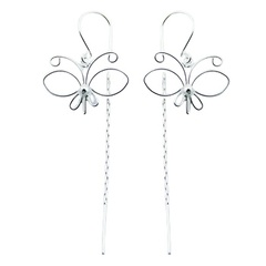 Airy hancrafted wirework butterflies sterling silver threader earrings